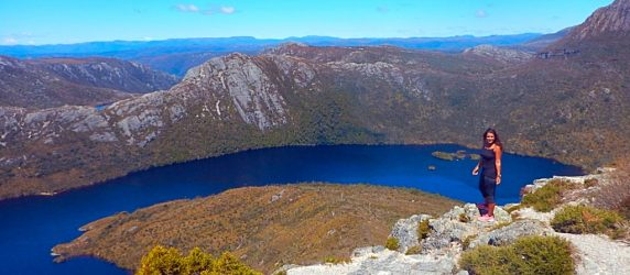 Absolutely Lucy, top of mountain, Tasmania, Australia, afford travel