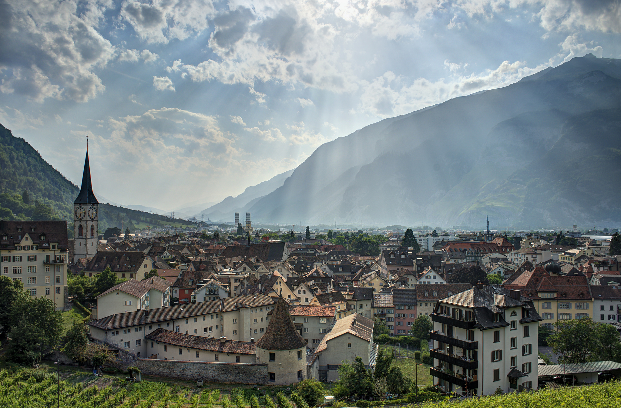 Switzerland, town in the valley between mountains