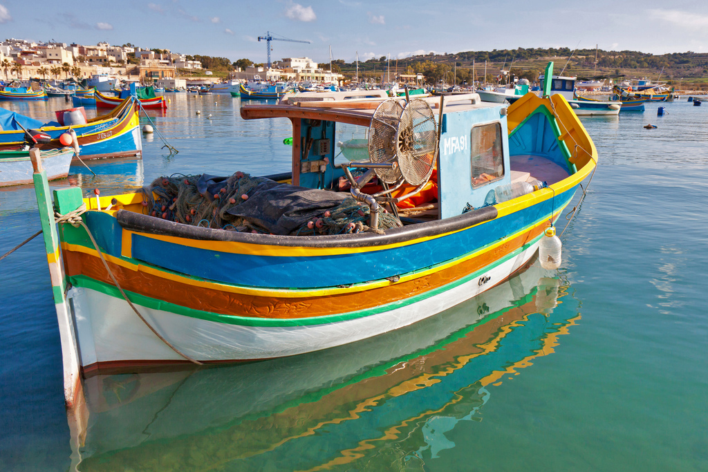 Colourful boats in Malta