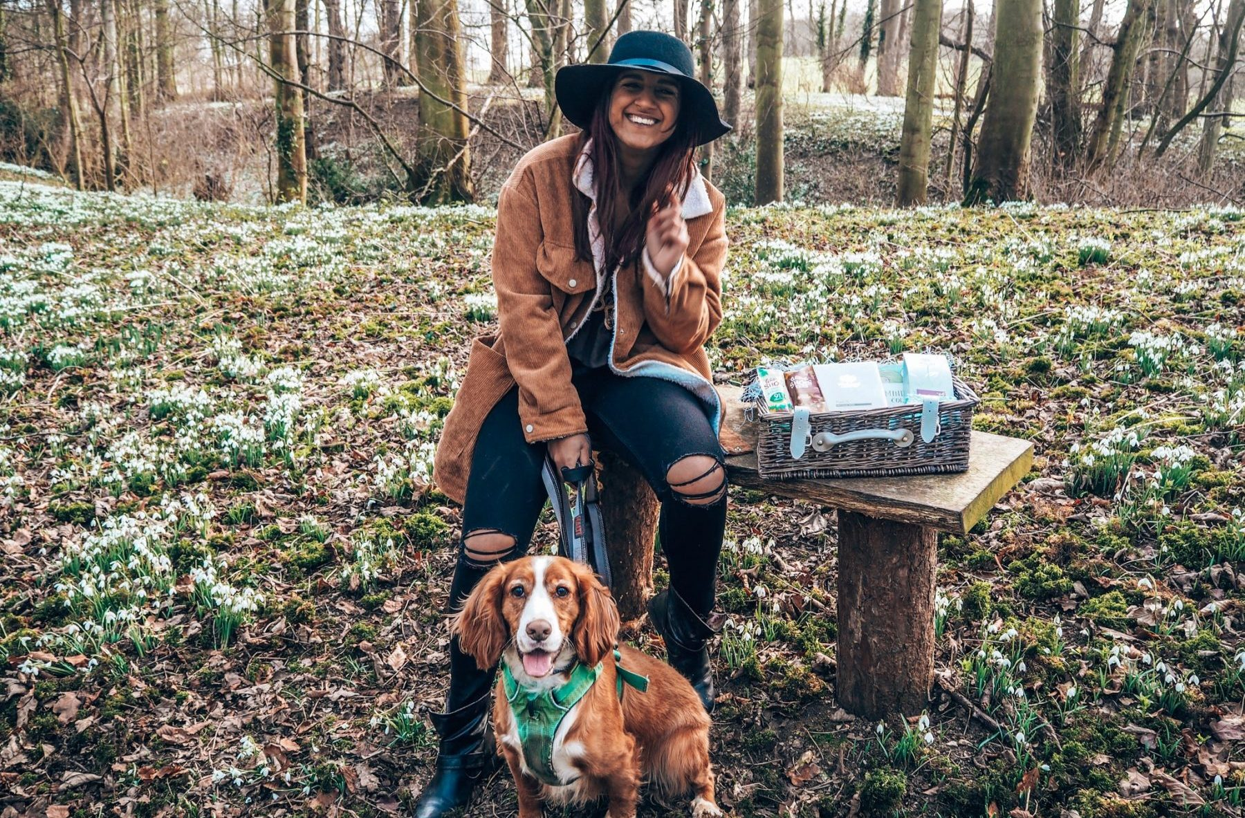 Absolutely Lucy with Opie the dog, Absolutely Lucy snowdrops, Walsingham Abbey, Norfolk