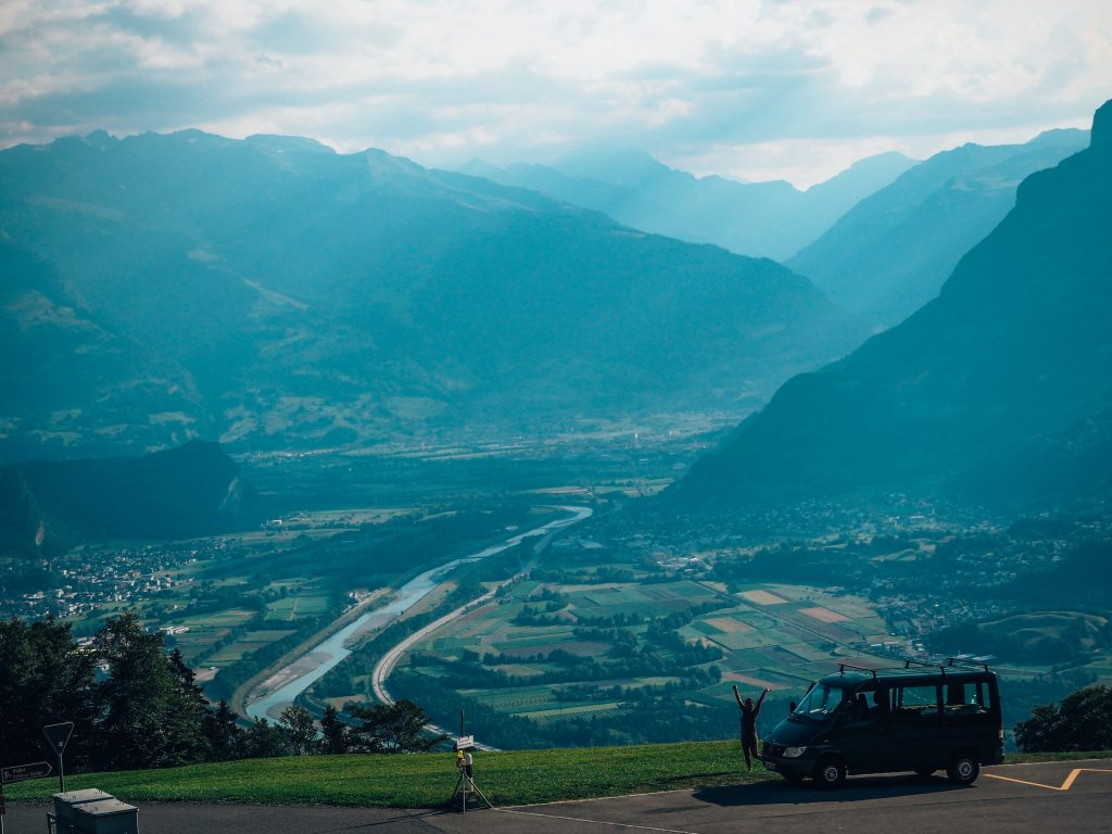 Road trip in Liechtenstein, mountain view