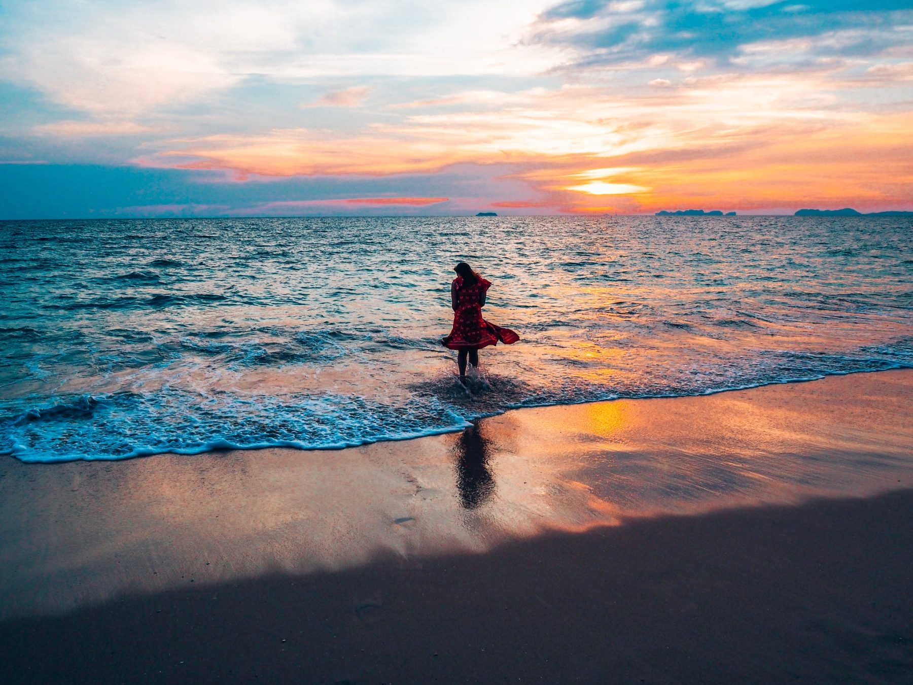 waves at sunset, Thailand, Thailand Koh Lanta beach shots 2019