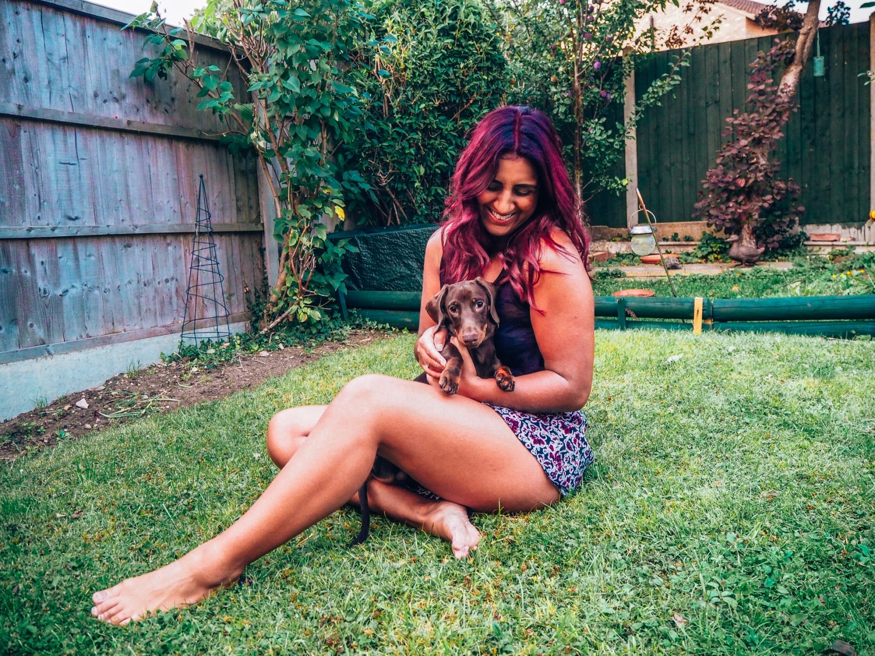 Absolutely Lucy with Mustard the sausage dog, talking about dog sitting jobs